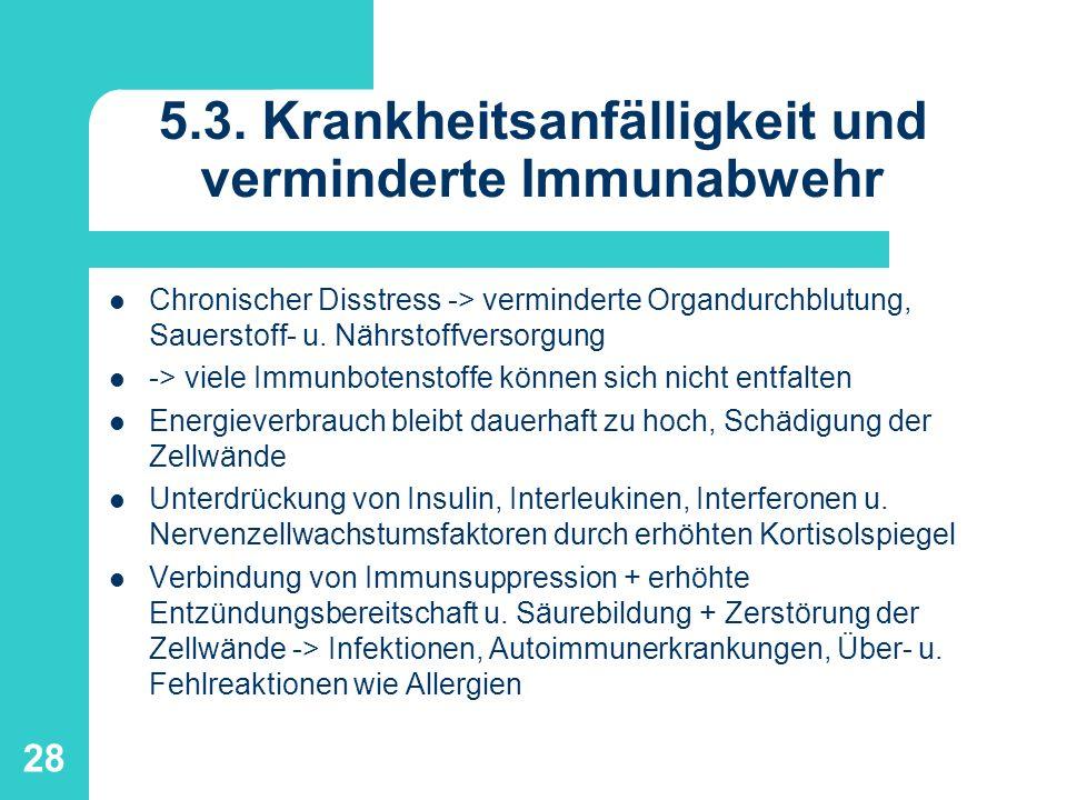 28 5.3. Krankheitsanfälligkeit und verminderte Immunabwehr Chronischer Disstress -> verminderte Organdurchblutung, Sauerstoff- u. Nährstoffversorgung