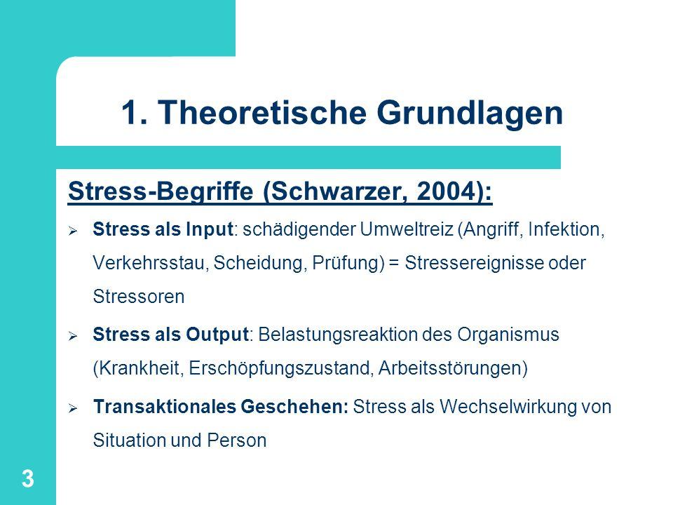 4 1.Theoretische Grundlagen Kognitiv-transaktionale Stresstheorie (Lazarus & Folkman, 80 - 90er Jahre): Kognitive Einschätzung beider Faktoren: Stresssituation - herausfordernd, bedrohlich, schädigend.