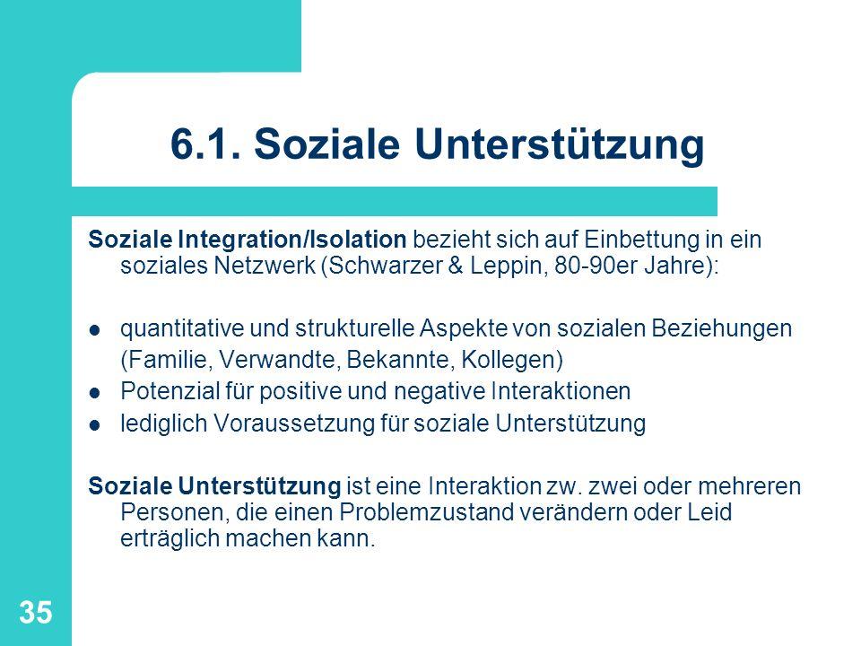 35 6.1. Soziale Unterstützung Soziale Integration/Isolation bezieht sich auf Einbettung in ein soziales Netzwerk (Schwarzer & Leppin, 80-90er Jahre):