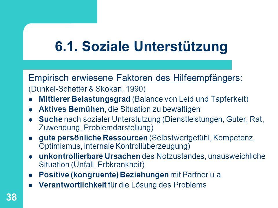39 6.1.Soziale Unterstützung Helfer-Voraussetzungen für Unterstützung (Skohan, 1990; Silver et al.