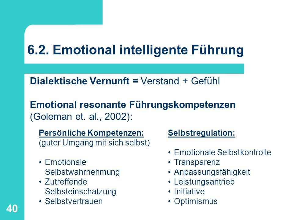 40 6.2. Emotional intelligente Führung Dialektische Vernunft = Verstand + Gefühl Emotional resonante Führungskompetenzen (Goleman et. al., 2002): Selb