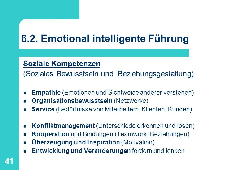 41 6.2. Emotional intelligente Führung Soziale Kompetenzen (Soziales Bewusstsein und Beziehungsgestaltung) Empathie (Emotionen und Sichtweise anderer
