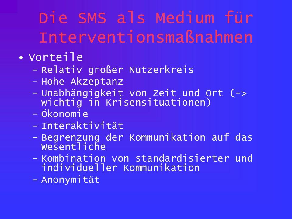 Die SMS als Medium für Interventionsmaßnahmen Vorteile –Relativ großer Nutzerkreis –Hohe Akzeptanz –Unabhängigkeit von Zeit und Ort (-> wichtig in Krisensituationen) –Ökonomie –Interaktivität –Begrenzung der Kommunikation auf das Wesentliche –Kombination von standardisierter und individueller Kommunikation –Anonymität