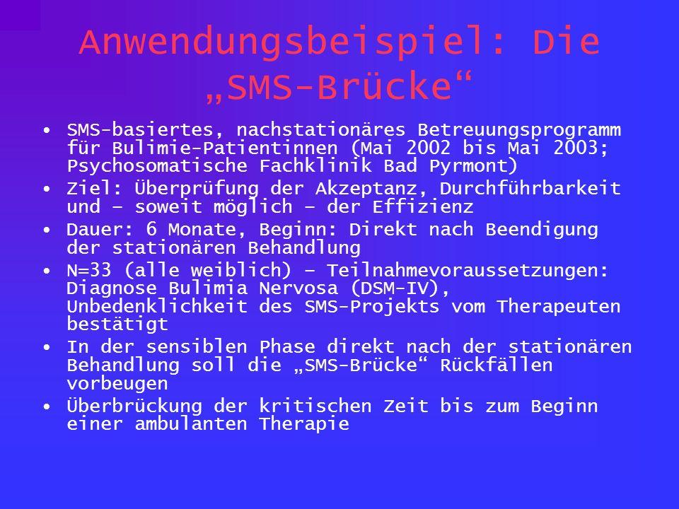 Anwendungsbeispiel: Die SMS-Brücke SMS-basiertes, nachstationäres Betreuungsprogramm für Bulimie-Patientinnen (Mai 2002 bis Mai 2003; Psychosomatische