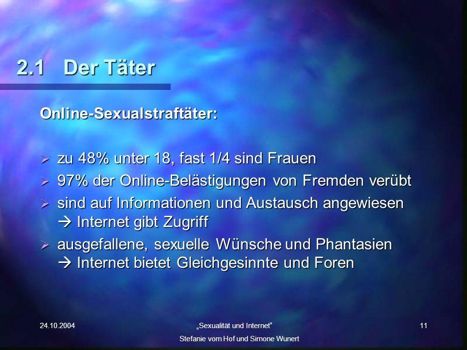 24.10.2004 Sexualität und Internet Stefanie vom Hof und Simone Wunert 11 2.1Der Täter Online-Sexualstraftäter: zu 48% unter 18, fast 1/4 sind Frauen z