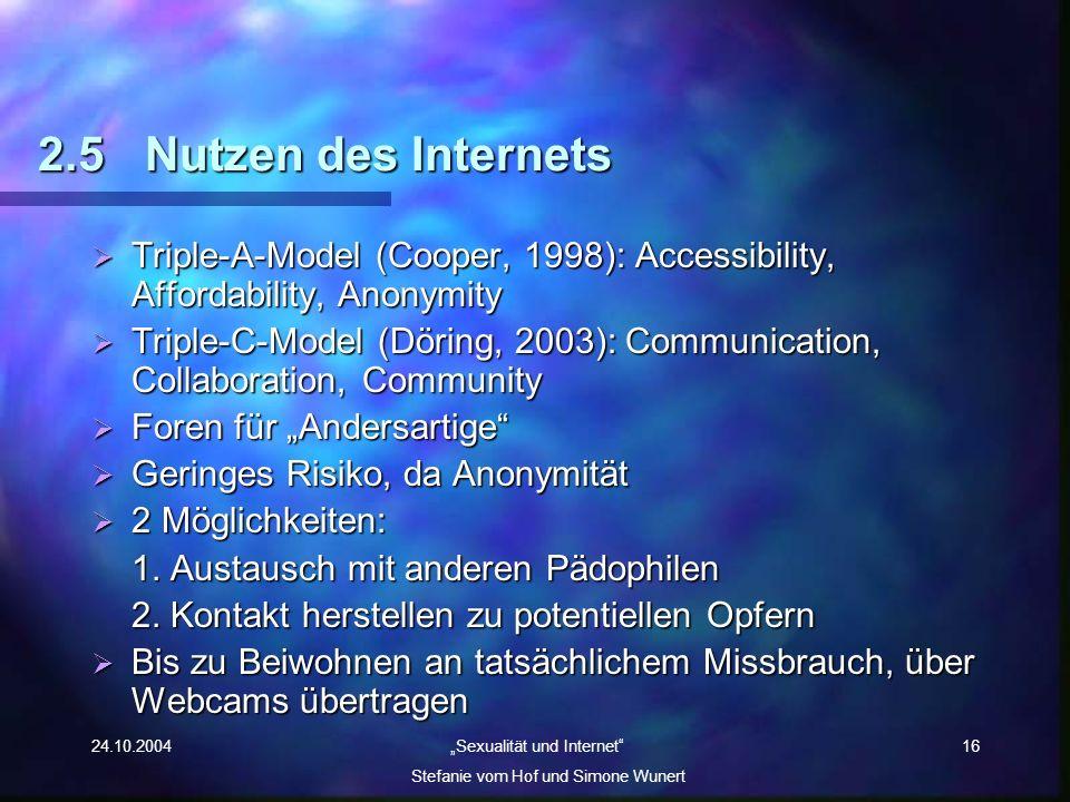 24.10.2004 Sexualität und Internet Stefanie vom Hof und Simone Wunert 16 2.5Nutzen des Internets Triple-A-Model (Cooper, 1998): Accessibility, Afforda