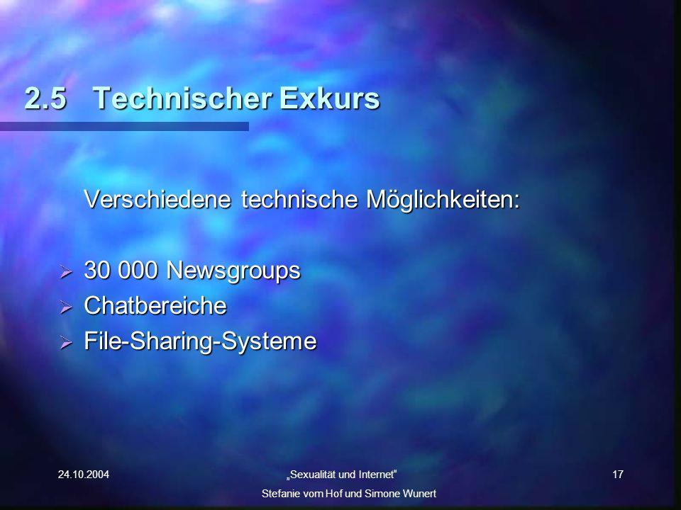 24.10.2004 Sexualität und Internet Stefanie vom Hof und Simone Wunert 17 2.5Technischer Exkurs Verschiedene technische Möglichkeiten: 30 000 Newsgroup