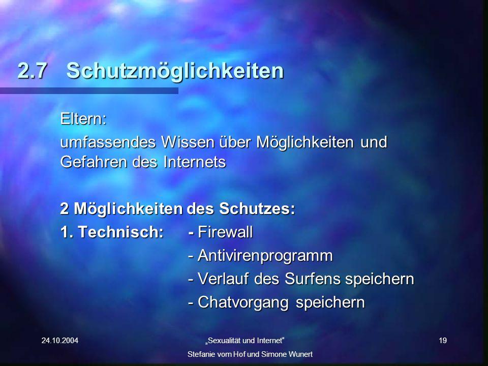 24.10.2004 Sexualität und Internet Stefanie vom Hof und Simone Wunert 19 2.7Schutzmöglichkeiten Eltern: umfassendes Wissen über Möglichkeiten und Gefa