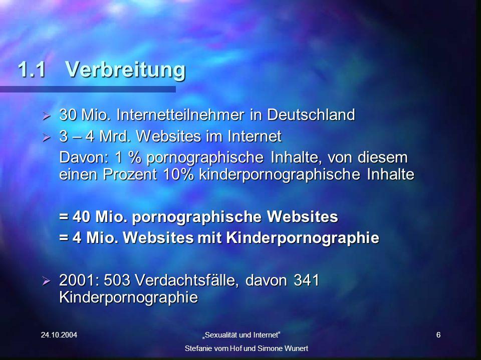 24.10.2004 Sexualität und Internet Stefanie vom Hof und Simone Wunert 6 1.1Verbreitung 30 Mio. Internetteilnehmer in Deutschland 30 Mio. Internetteiln