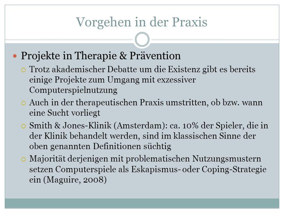Vorgehen in der Praxis Projekte in Therapie & Prävention Trotz akademischer Debatte um die Existenz gibt es bereits einige Projekte zum Umgang mit exz