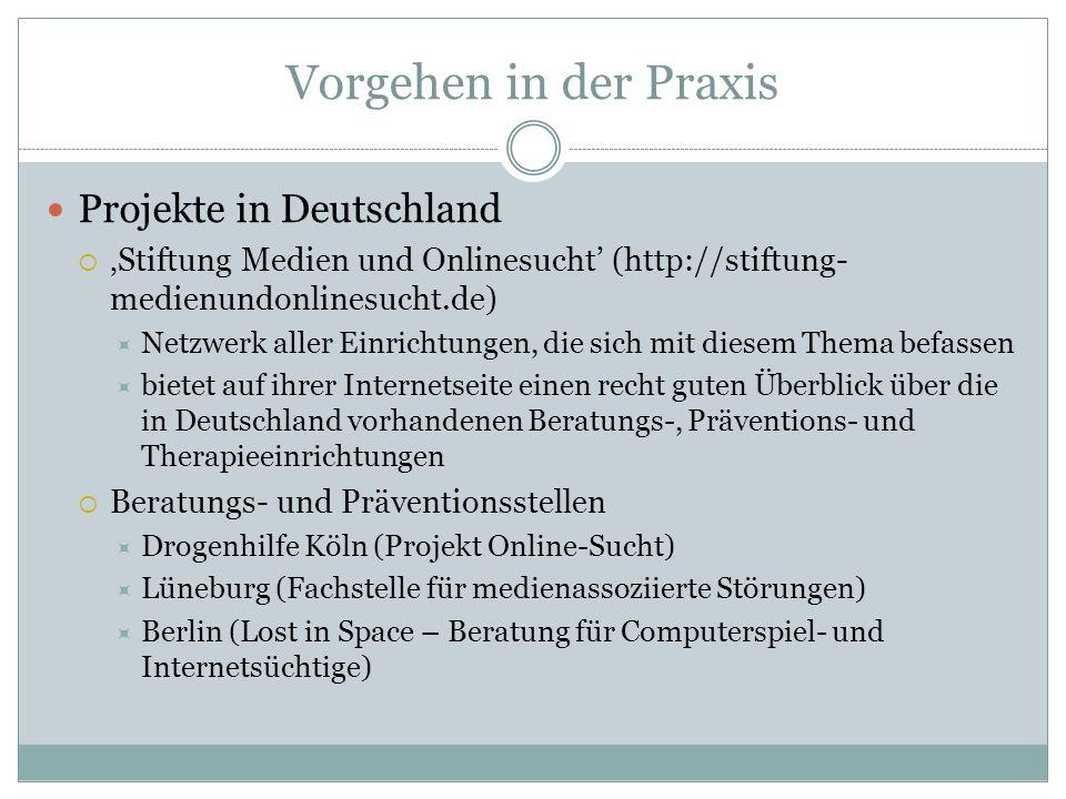 Vorgehen in der Praxis Projekte in Deutschland Stiftung Medien und Onlinesucht (http://stiftung- medienundonlinesucht.de) Netzwerk aller Einrichtungen