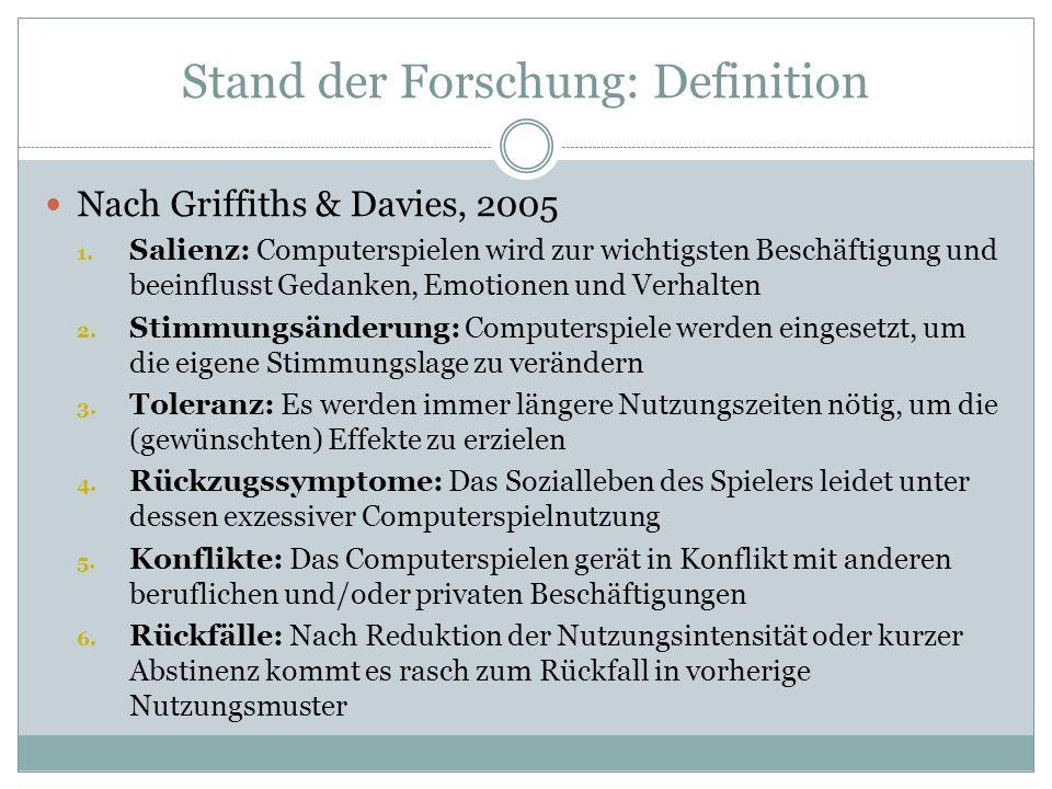 Stand der Forschung: Definition Nach Griffiths & Davies, 2005 1. Salienz: Computerspielen wird zur wichtigsten Beschäftigung und beeinflusst Gedanken,