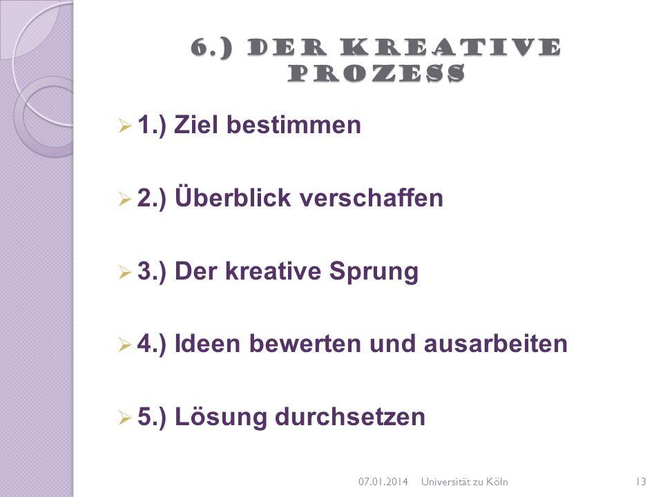6.) Der kreative Prozess 1.) Ziel bestimmen 2.) Überblick verschaffen 3.) Der kreative Sprung 4.) Ideen bewerten und ausarbeiten 5.) Lösung durchsetze