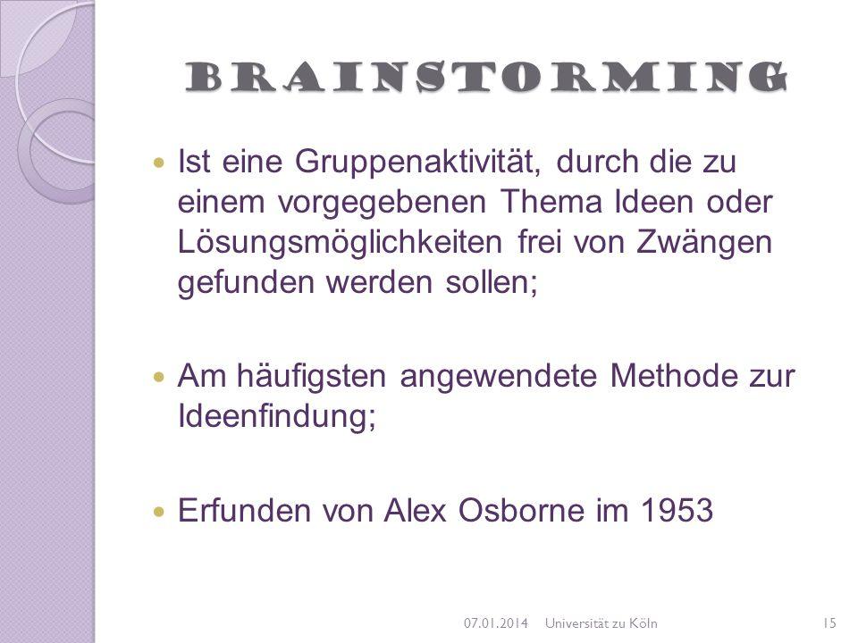 Brainstorming Ist eine Gruppenaktivität, durch die zu einem vorgegebenen Thema Ideen oder Lösungsmöglichkeiten frei von Zwängen gefunden werden sollen