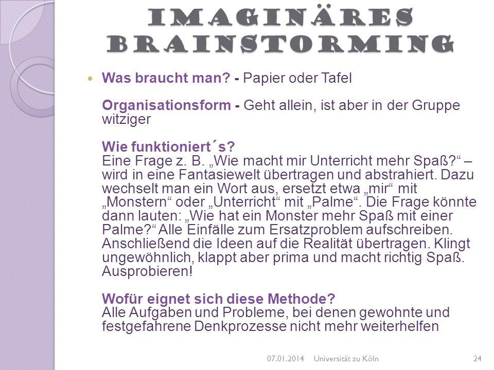 Imaginäres Brainstorming Was braucht man? - Papier oder Tafel Organisationsform - Geht allein, ist aber in der Gruppe witziger Wie funktioniert´s? Ein