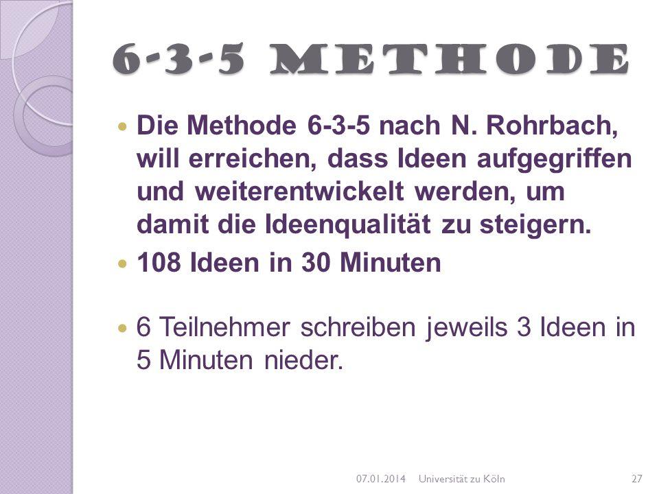 6-3-5 Methode Die Methode 6-3-5 nach N. Rohrbach, will erreichen, dass Ideen aufgegriffen und weiterentwickelt werden, um damit die Ideenqualität zu s