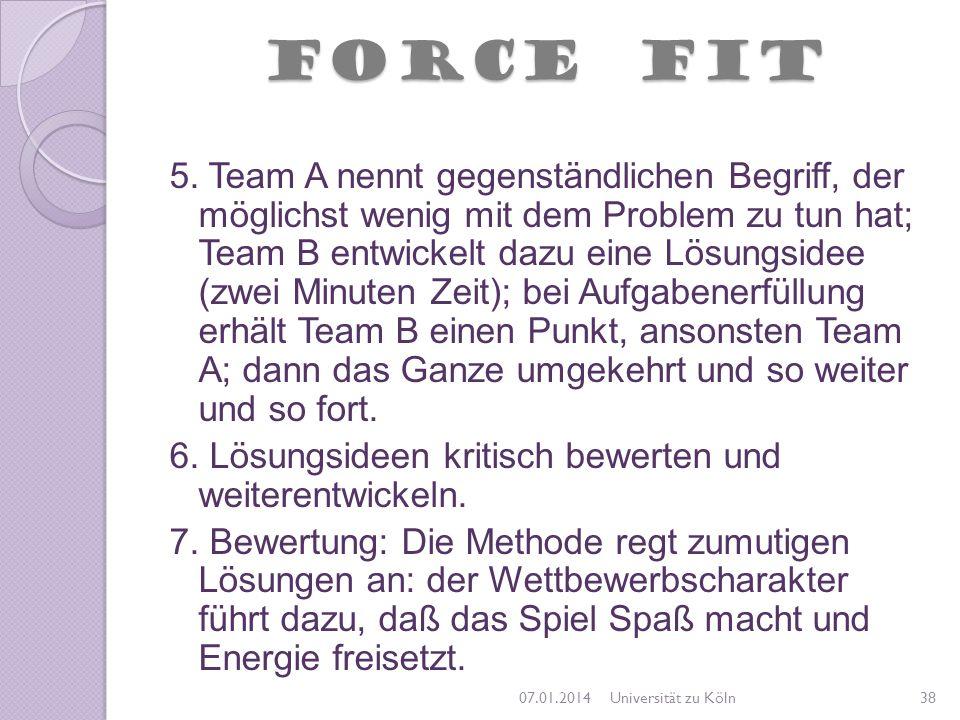FORCE FIT 5. Team A nennt gegenständlichen Begriff, der möglichst wenig mit dem Problem zu tun hat; Team B entwickelt dazu eine Lösungsidee (zwei Minu