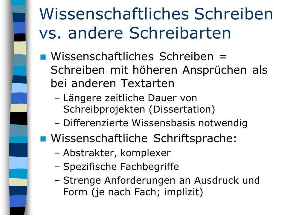 Wissenschaftliches Schreiben vs.