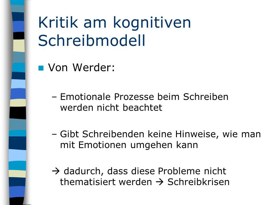Kritik am kognitiven Schreibmodell Von Werder: –Emotionale Prozesse beim Schreiben werden nicht beachtet –Gibt Schreibenden keine Hinweise, wie man mit Emotionen umgehen kann dadurch, dass diese Probleme nicht thematisiert werden Schreibkrisen