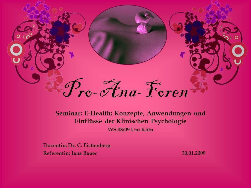 Seminar: E-Health: Konzepte, Anwendungen und Einflüsse der Klinischen Psychologie WS 08/09 Uni Köln Dozentin: Dr. C. Eichenberg Referentin: Jana Bauer