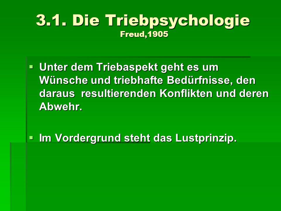 3.1. Die Triebpsychologie Freud,1905 Unter dem Triebaspekt geht es um Wünsche und triebhafte Bedürfnisse, den daraus resultierenden Konflikten und der