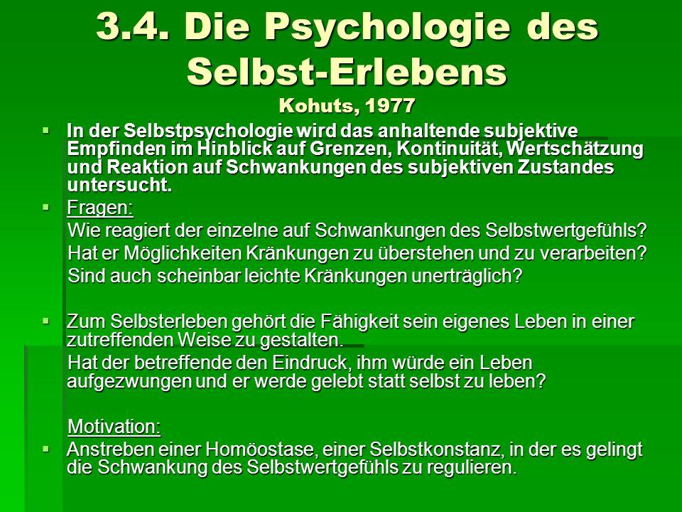 3.4. Die Psychologie des Selbst-Erlebens Kohuts, 1977 In der Selbstpsychologie wird das anhaltende subjektive Empfinden im Hinblick auf Grenzen, Konti