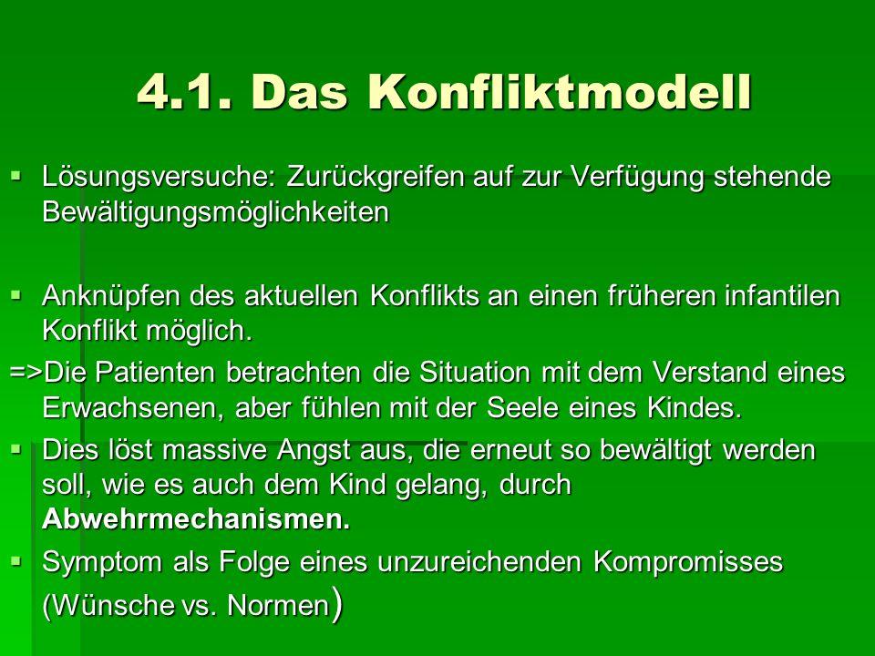 4.1. Das Konfliktmodell Lösungsversuche: Zurückgreifen auf zur Verfügung stehende Bewältigungsmöglichkeiten Lösungsversuche: Zurückgreifen auf zur Ver
