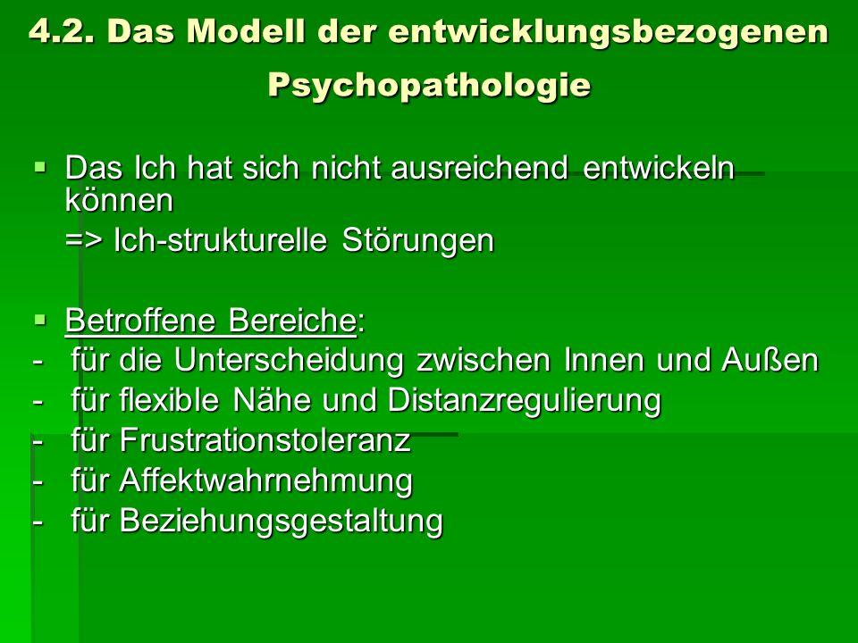 4.2. Das Modell der entwicklungsbezogenen Psychopathologie Das Ich hat sich nicht ausreichend entwickeln können Das Ich hat sich nicht ausreichend ent