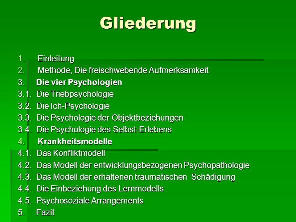 Gliederung 1.Einleitung 2.Methode, Die freischwebende Aufmerksamkeit 3. Die vier Psychologien 3.1. Die Triebpsychologie 3.2. Die Ich-Psychologie 3.3.