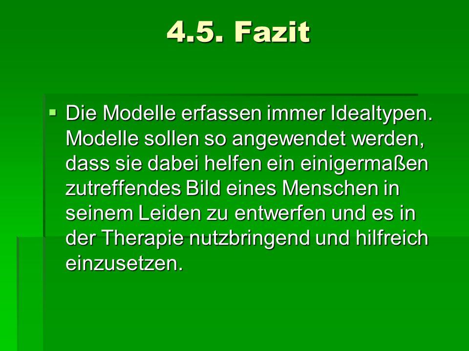 4.5. Fazit Die Modelle erfassen immer Idealtypen. Modelle sollen so angewendet werden, dass sie dabei helfen ein einigermaßen zutreffendes Bild eines