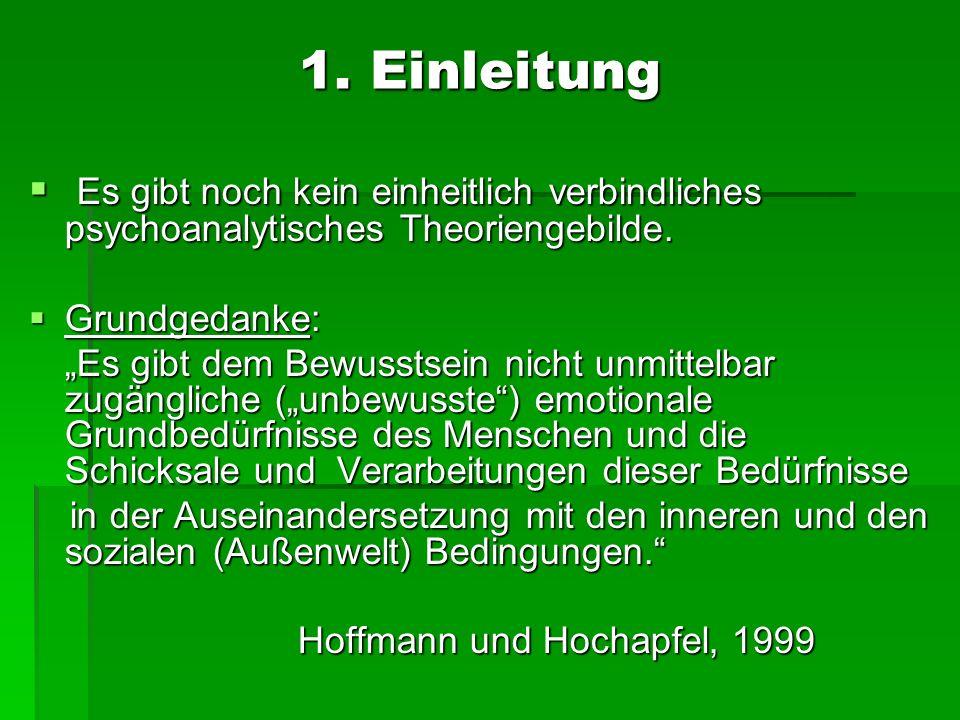 1. Einleitung Es gibt noch kein einheitlich verbindliches psychoanalytisches Theoriengebilde. Es gibt noch kein einheitlich verbindliches psychoanalyt