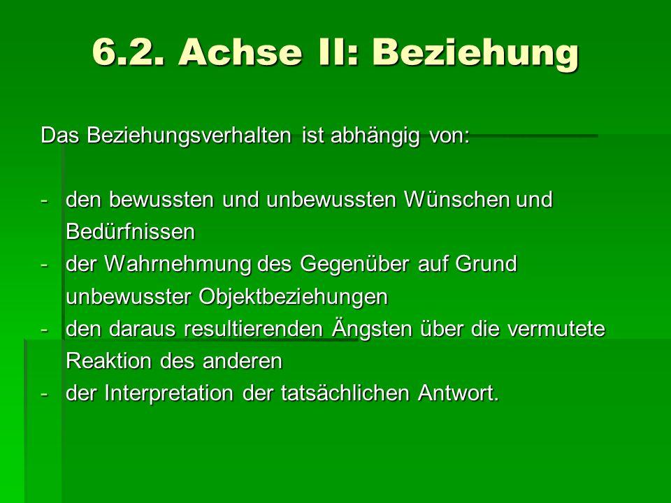 6.2. Achse II: Beziehung Das Beziehungsverhalten ist abhängig von: -den bewussten und unbewussten Wünschen und Bedürfnissen -der Wahrnehmung des Gegen
