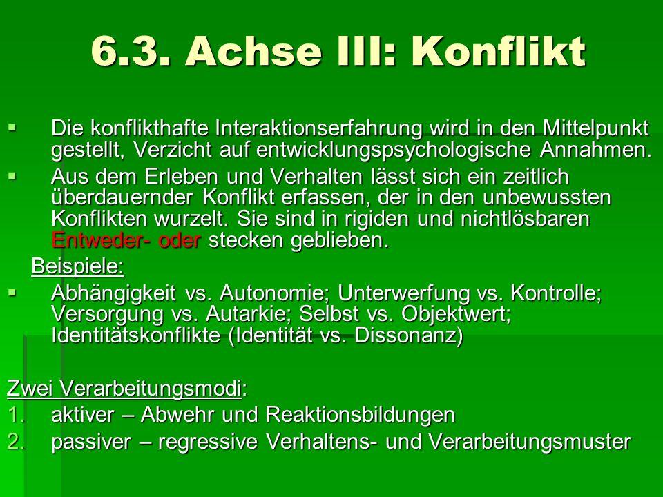 6.3. Achse III: Konflikt Die konflikthafte Interaktionserfahrung wird in den Mittelpunkt gestellt, Verzicht auf entwicklungspsychologische Annahmen. D