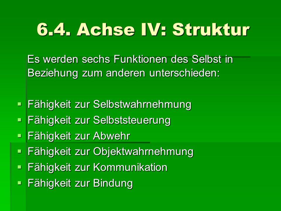 6.4. Achse IV: Struktur Es werden sechs Funktionen des Selbst in Beziehung zum anderen unterschieden: Es werden sechs Funktionen des Selbst in Beziehu
