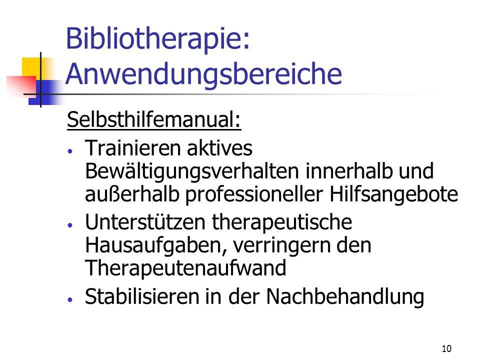 10 Bibliotherapie: Anwendungsbereiche Selbsthilfemanual: Trainieren aktives Bewältigungsverhalten innerhalb und außerhalb professioneller Hilfsangebot
