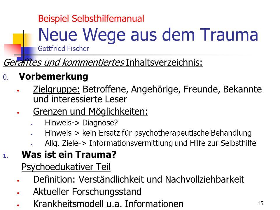 15 Beispiel Selbsthilfemanual Neue Wege aus dem Trauma Gottfried Fischer Gerafftes und kommentiertes Inhaltsverzeichnis: 0. Vorbemerkung Zielgruppe: B