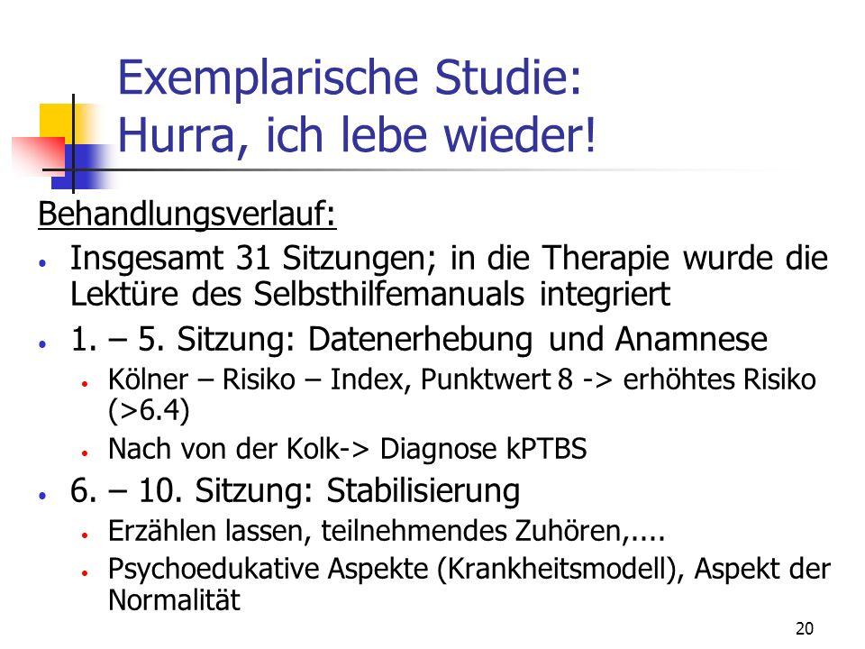 20 Exemplarische Studie: Hurra, ich lebe wieder! Behandlungsverlauf: Insgesamt 31 Sitzungen; in die Therapie wurde die Lektüre des Selbsthilfemanuals