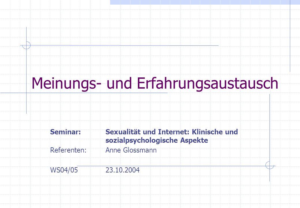 Meinungs- und Erfahrungsaustausch Seminar: Sexualität und Internet: Klinische und sozialpsychologische Aspekte Referenten:Anne Glossmann WS04/0523.10.
