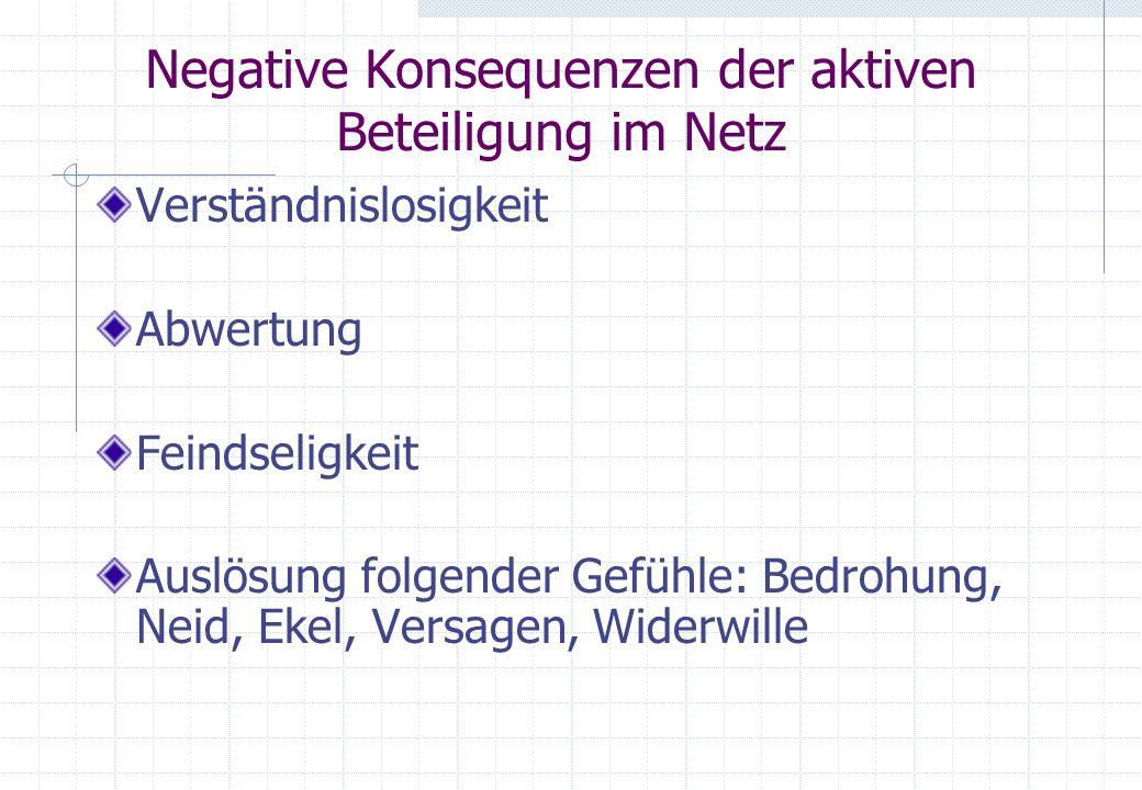 Negative Konsequenzen der aktiven Beteiligung im Netz Verständnislosigkeit Abwertung Feindseligkeit Auslösung folgender Gefühle: Bedrohung, Neid, Ekel