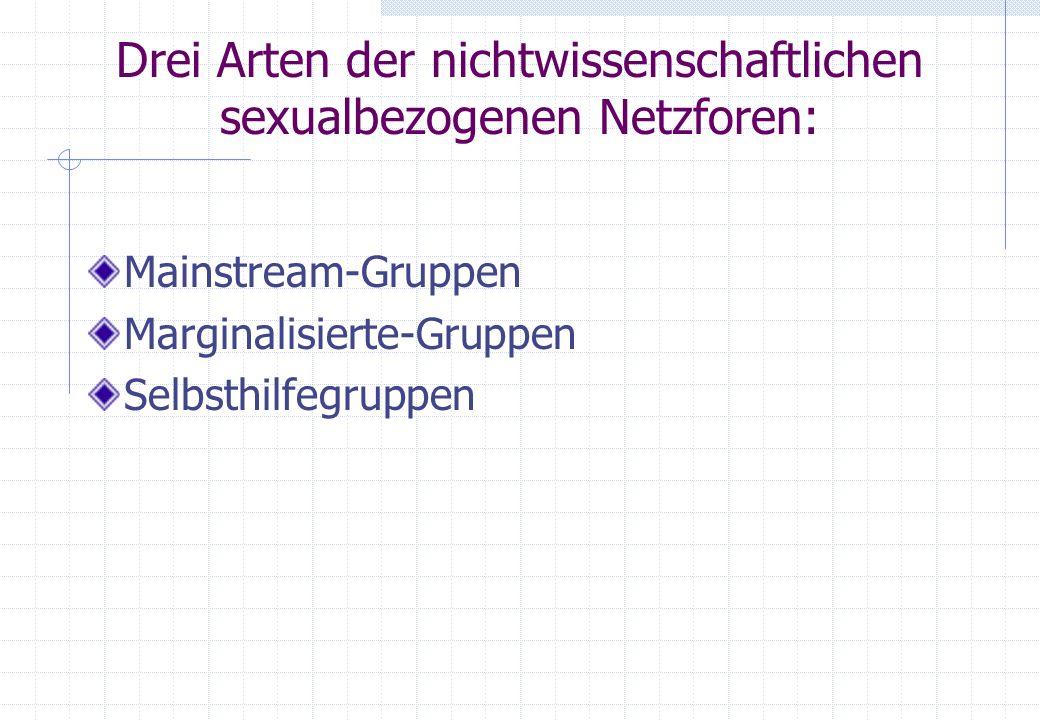 Drei Arten der nichtwissenschaftlichen sexualbezogenen Netzforen: Mainstream-Gruppen Marginalisierte-Gruppen Selbsthilfegruppen