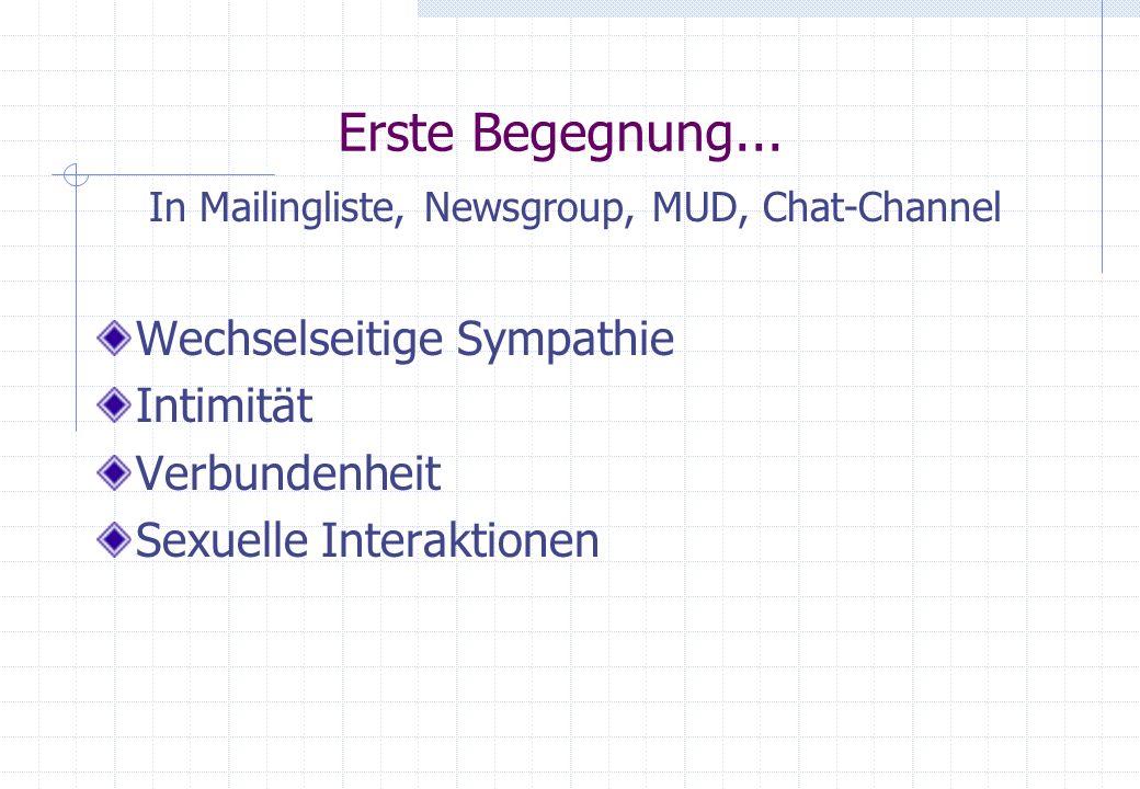 Erste Begegnung... In Mailingliste, Newsgroup, MUD, Chat-Channel Wechselseitige Sympathie Intimität Verbundenheit Sexuelle Interaktionen