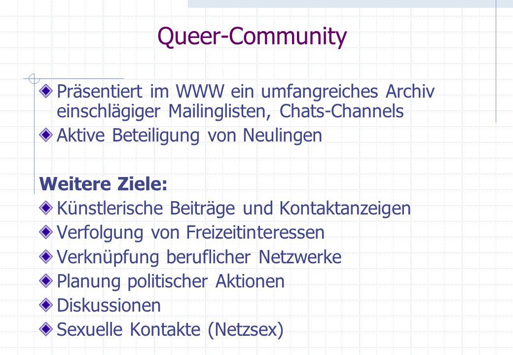 Queer-Community Präsentiert im WWW ein umfangreiches Archiv einschlägiger Mailinglisten, Chats-Channels Aktive Beteiligung von Neulingen Weitere Ziele