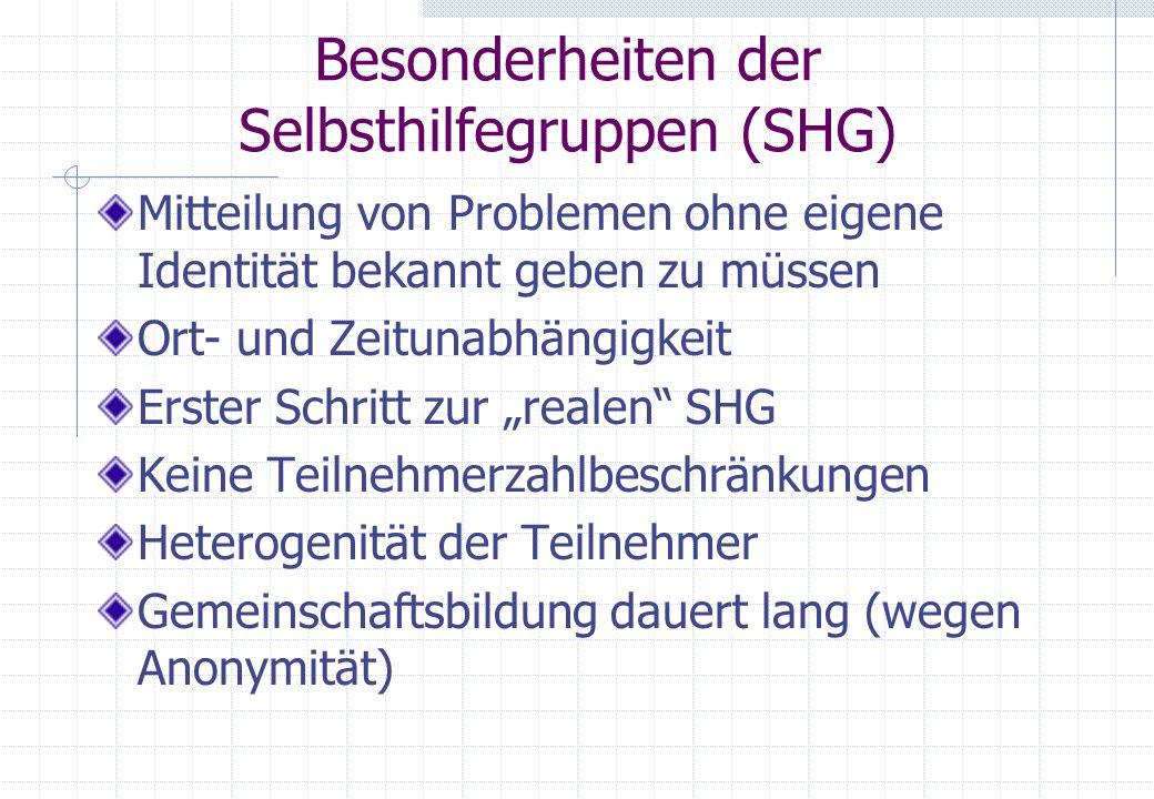 Besonderheiten der Selbsthilfegruppen (SHG) Mitteilung von Problemen ohne eigene Identität bekannt geben zu müssen Ort- und Zeitunabhängigkeit Erster