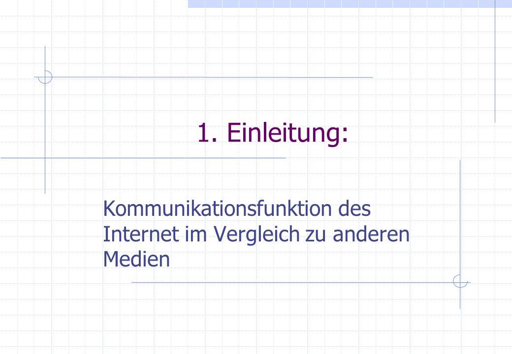 1. Einleitung: Kommunikationsfunktion des Internet im Vergleich zu anderen Medien