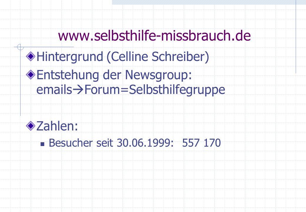 www.selbsthilfe-missbrauch.de Hintergrund (Celline Schreiber) Entstehung der Newsgroup: emails Forum=Selbsthilfegruppe Zahlen: Besucher seit 30.06.199