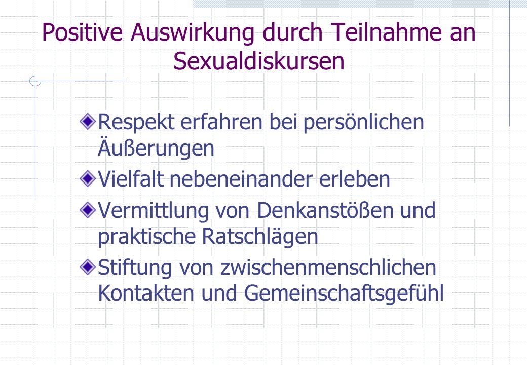 Positive Auswirkung durch Teilnahme an Sexualdiskursen Respekt erfahren bei persönlichen Äußerungen Vielfalt nebeneinander erleben Vermittlung von Den