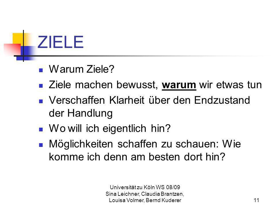 Universität zu Köln WS 08/09 Sina Leichner, Claudia Brantzen, Louisa Volmer, Bernd Kuderer11 ZIELE Warum Ziele? Ziele machen bewusst, warum wir etwas