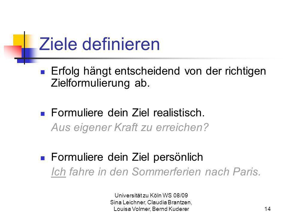 Universität zu Köln WS 08/09 Sina Leichner, Claudia Brantzen, Louisa Volmer, Bernd Kuderer14 Ziele definieren Erfolg hängt entscheidend von der richti