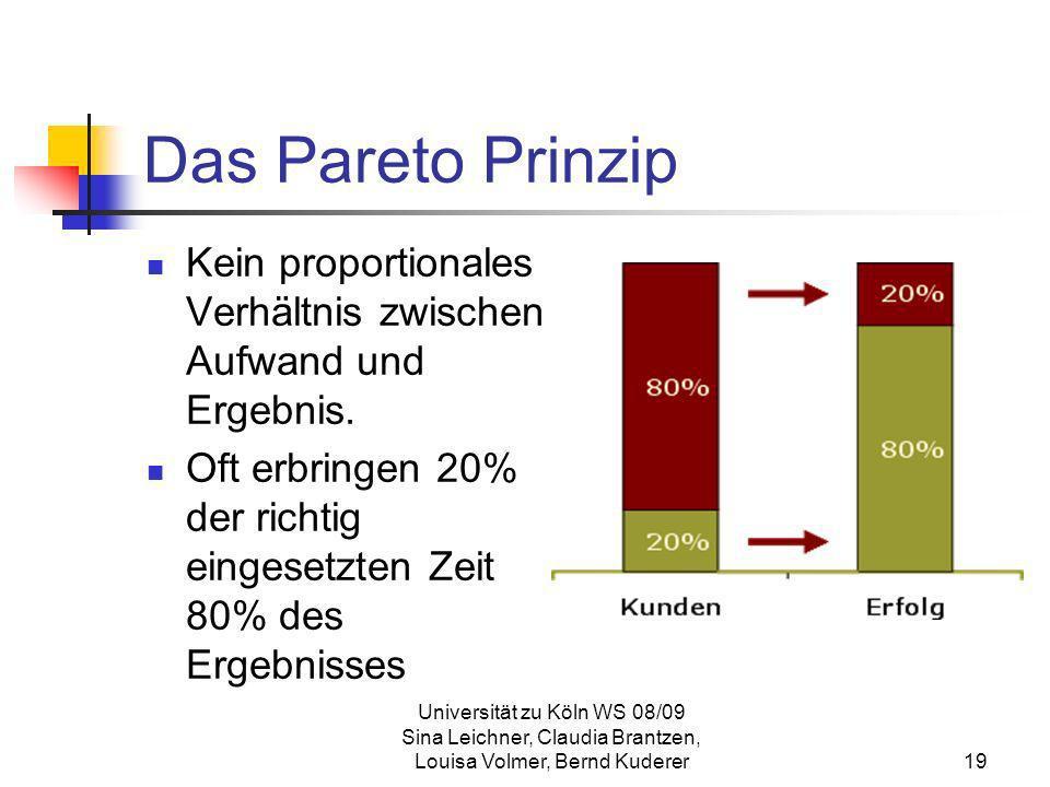 Universität zu Köln WS 08/09 Sina Leichner, Claudia Brantzen, Louisa Volmer, Bernd Kuderer19 Das Pareto Prinzip Kein proportionales Verhältnis zwische