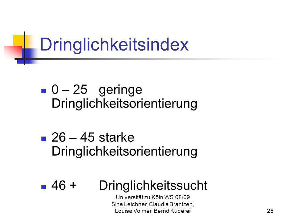 Universität zu Köln WS 08/09 Sina Leichner, Claudia Brantzen, Louisa Volmer, Bernd Kuderer26 Dringlichkeitsindex 0 – 25 geringe Dringlichkeitsorientie